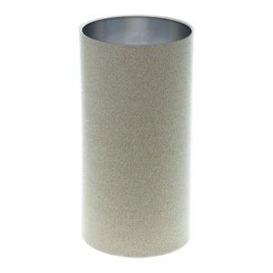 Cream Beige Herringbone Tall Drum Lampshade Brushed Silver Inner