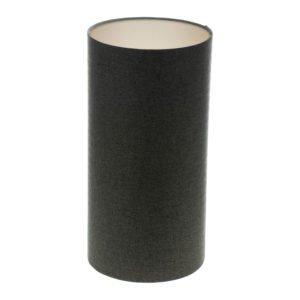 Dark Grey Herringbone Tall Drum Lampshade Champagne Inner