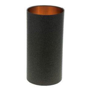 Dark Grey Herringbone Tall Drum Lampshade Brushed Copper Inner