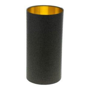Dark Grey Herringbone Tall Drum Lampshade Brushed Gold Inner