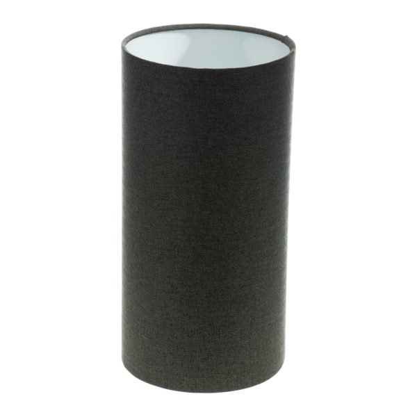 Dark Grey Herringbone Tall Drum Lampshade