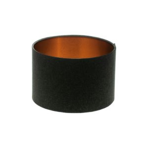 Dark Grey Wool Drum Lampshade Brushed Copper Inner