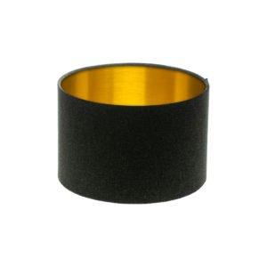 Dark Grey Wool Drum Lampshade Brushed Gold Inner