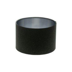 Dark Grey Wool Drum Lampshade Brushed Silver Inner