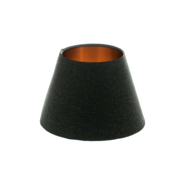 Dark Grey Wool Empire Lampshade Brushed Copper Inner