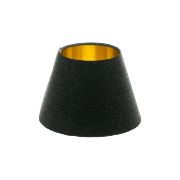 Dark Grey Wool Empire Lampshade Brushed Gold Inner