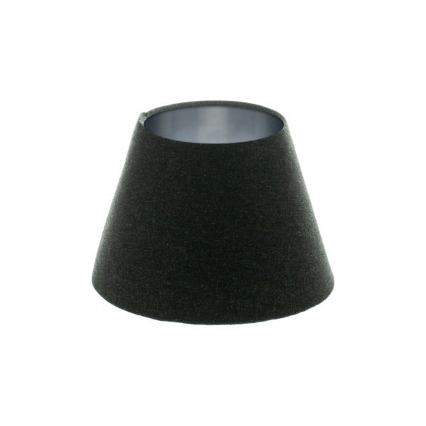 Dark Grey Wool Empire Lampshade Brushed Silver Inner