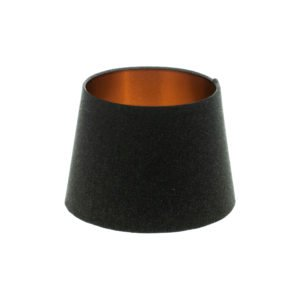 Dark Grey Wool French Drum Lampshade Brushed Copper Inner