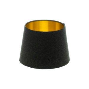 Dark Grey Wool French Drum Lampshade Brushed Gold Inner