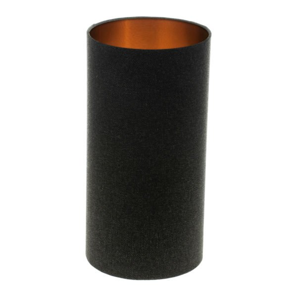 Dark Grey Wool Tall Drum Lampshade Brushed Copper Inner