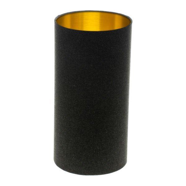 Dark Grey Wool Tall Drum Lampshade Brushed Gold Inner
