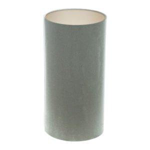 Dove Grey Velvet Tall Drum Lampshade Champagne Inner
