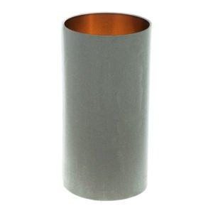 Dove Grey Velvet Tall Drum Lampshade Brushed Copper Inner
