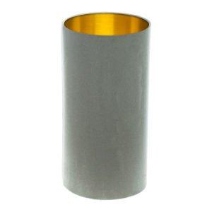 Dove Grey Velvet Tall Drum Lampshade Brushed Gold Inner