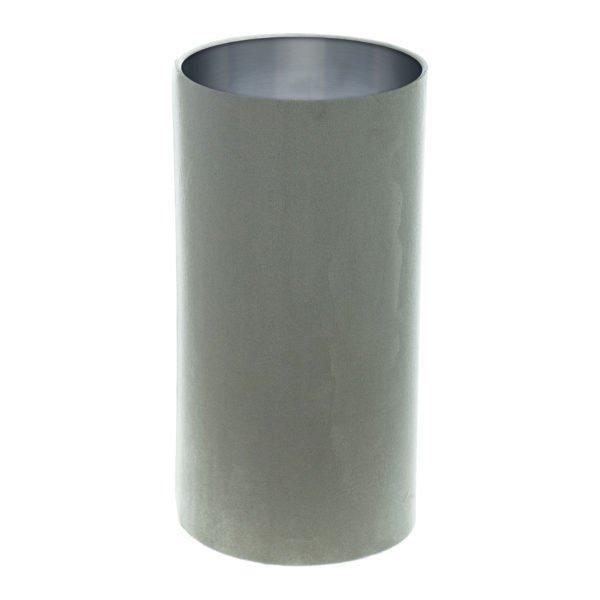 Dove Grey Velvet Tall Drum Lampshade Brushed Silver Inner