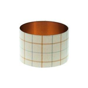 Exford Amber Tartan Drum Lampshade Brushed Copper Inner