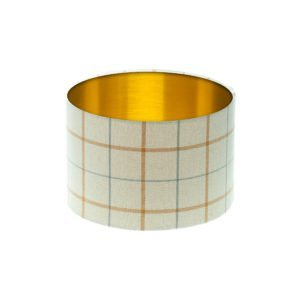 Exford Amber Tartan Drum Lampshade Brushed Gold Inner