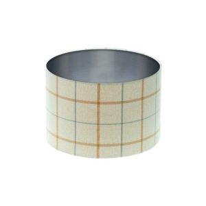 Exford Amber Tartan Drum Lampshade Brushed Silver Inner