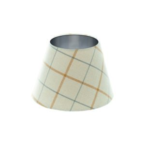 Exford Amber Tartan Empire Lampshade Brushed Silver Inner