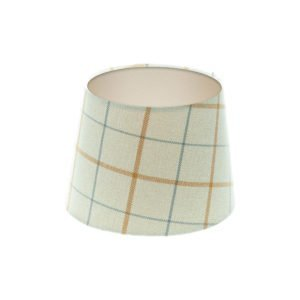 Exford Amber Tartan French Drum Lampshade Champagne Inner