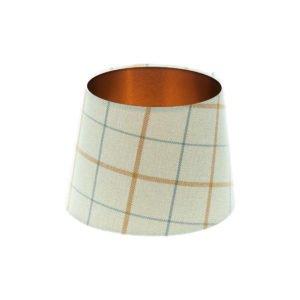 Exford Amber Tartan French Drum Lampshade Brushed Copper Inner