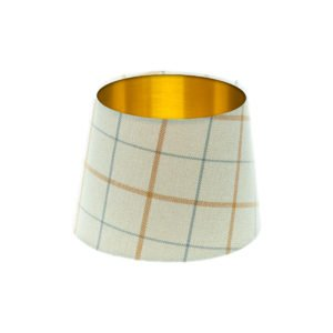 Exford Amber Tartan French Drum Lampshade Brushed Gold Inner