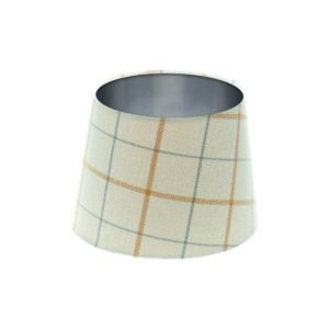 Exford Amber Tartan French Drum Lampshade Brushed Silver Inner