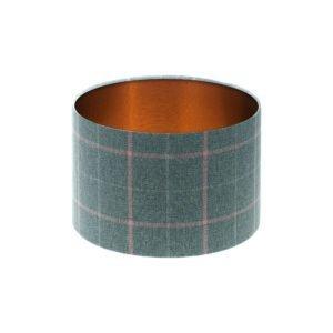 Exford Grey Pink Tartan Drum Lampshade Brushed Copper Inner