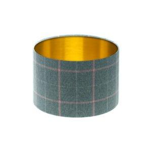 Exford Grey Pink Tartan Drum Lampshade Brushed Gold Inner