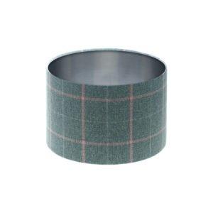 Exford Grey Pink Tartan Drum Lampshade Brushed Silver Inner