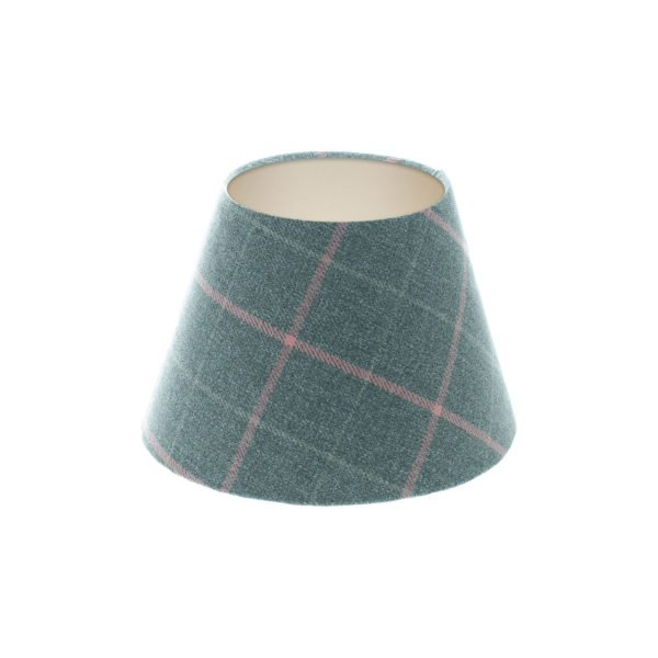 Exford Grey Pink Tartan Empire Lampshade Champagne Inner