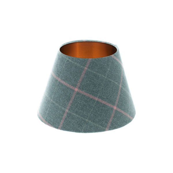 Exford Grey Pink Tartan Empire Lampshade Brushed Copper Inner