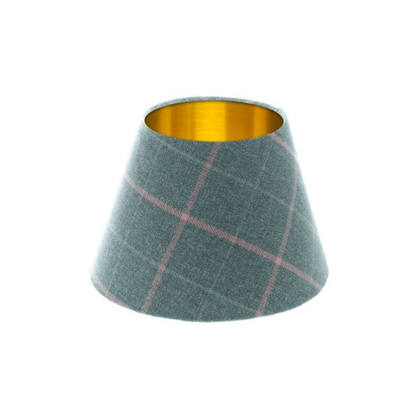 Exford Grey Pink Tartan Empire Lampshade Brushed Gold Inner