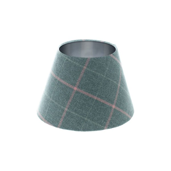 Exford Grey Pink Tartan Empire Lampshade Brushed Silver Inner