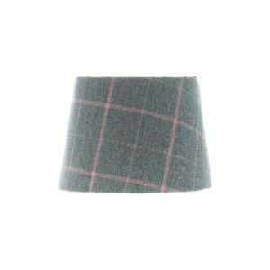 Exford Grey Pink Tartan French Drum Lampshade