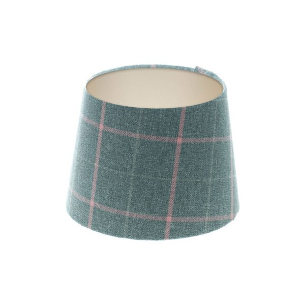 Exford Grey Pink Tartan French Drum Lampshade Champagne Inner