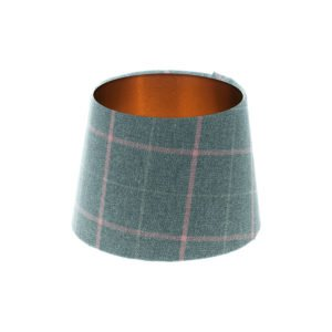Exford Grey Pink Tartan French Drum Lampshade Brushed Copper Inner