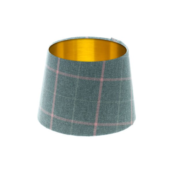Exford Grey Pink Tartan French Drum Lampshade Brushed Gold Inner