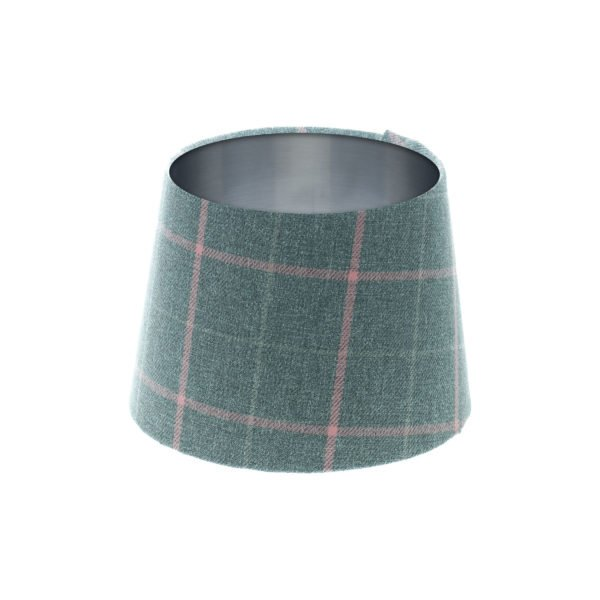 Exford Grey Pink Tartan French Drum Lampshade Brushed Silver Inner