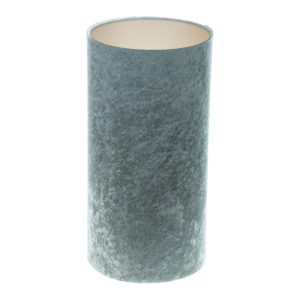 Grey Crushed Velvet Tall Drum Lampshade Champagne Inner