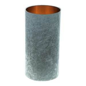 Grey Crushed Velvet Tall Drum Lampshade Brushed Copper Inner