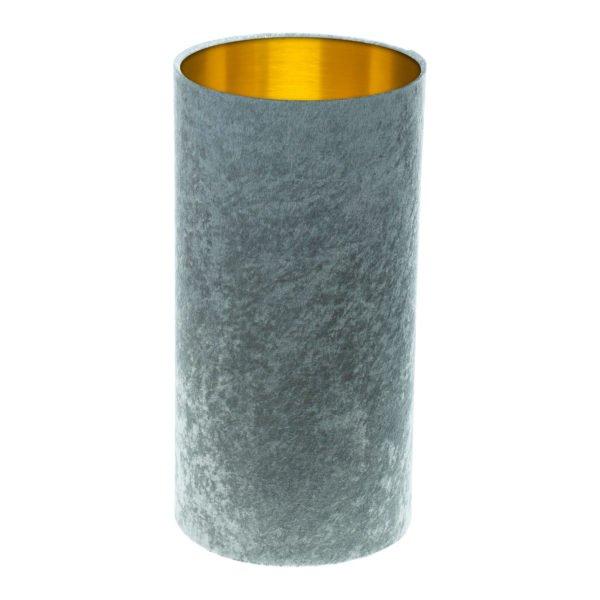 Grey Crushed Velvet Tall Drum Lampshade Brushed Gold Inner