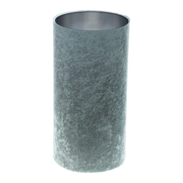 Grey Crushed Velvet Tall Drum Lampshade Brushed Silver Inner