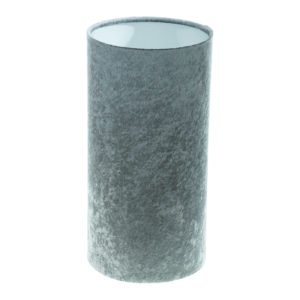 Grey Crushed Velvet Tall Drum Lampshade