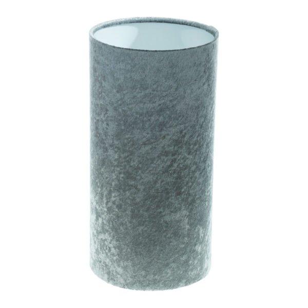 Grey Crushed Velvet Tall Drum Lampshade