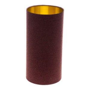 Heather Herringbone Tall Drum Lampshade Brushed Gold Inner