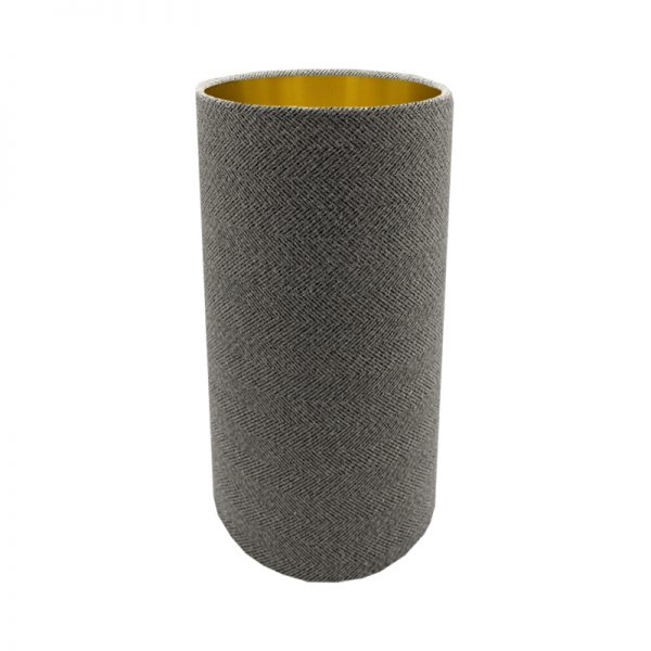 Light Grey Herringbone Tall Drum Lampshade