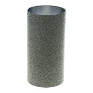 Light Grey Herringbone Tall Drum Lampshade Brushed Silver Inner