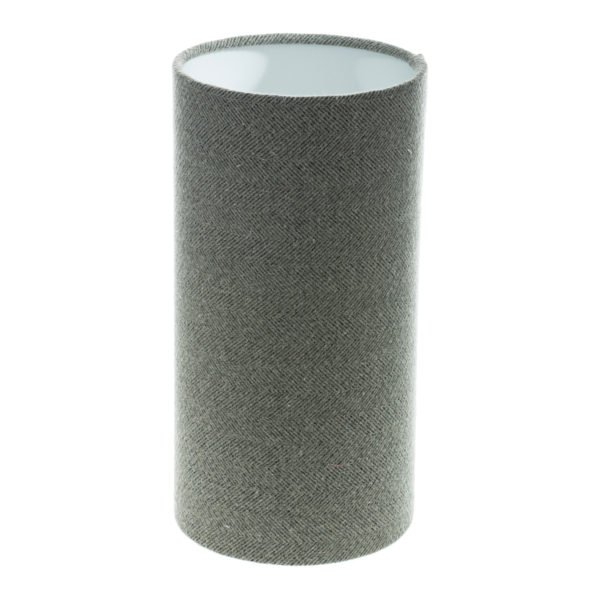 Light Grey Herringbone Tall Drum Lampshade