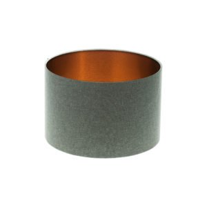 Light Grey Wool Drum Lampshade Brushed Copper Inner